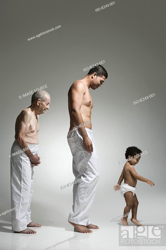 Stock Photo: Three generations of males.