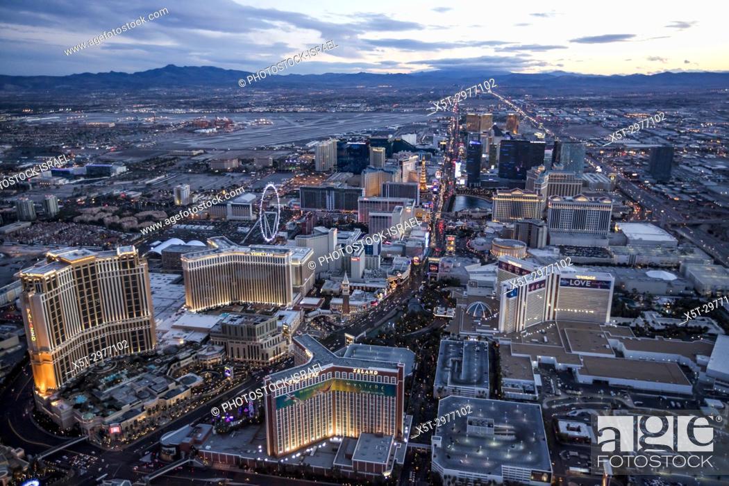 Stock Photo: Aerial view of the Strip at night, Las Vegas, Nevada, USA.