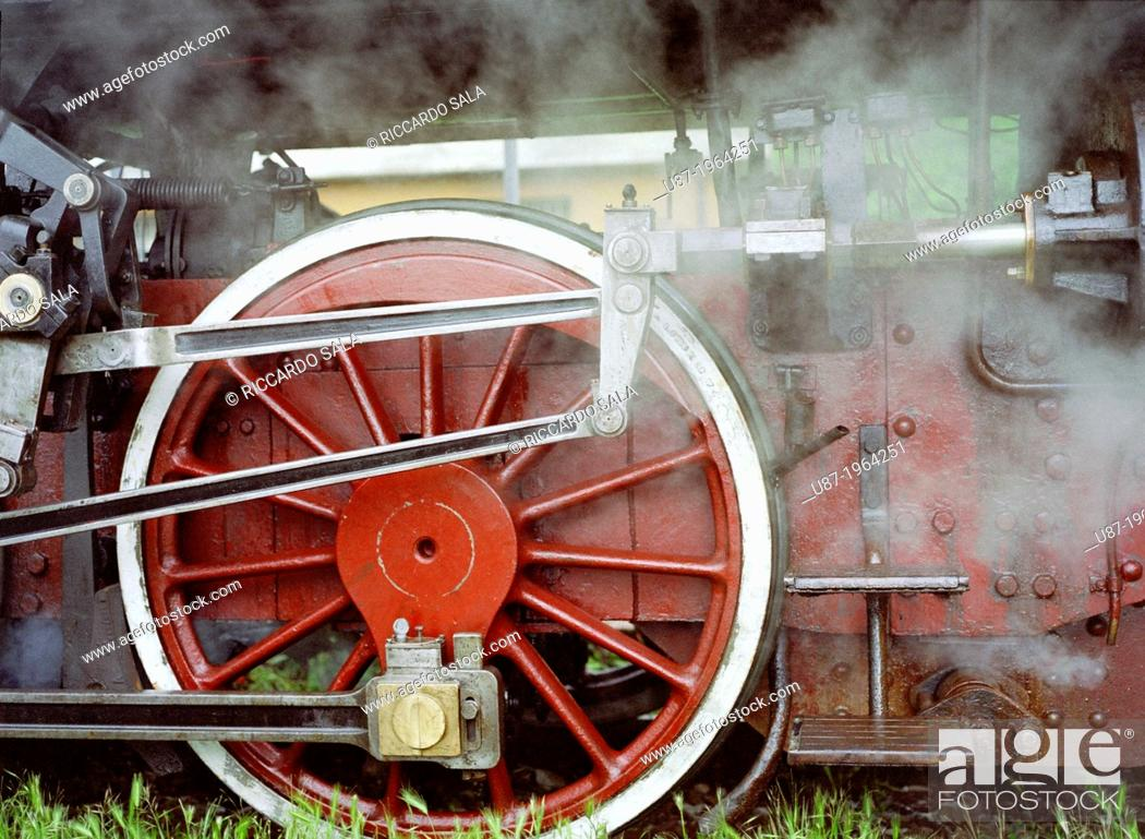 Stock Photo: Italy, Lombardy, Vintage Steam Train.