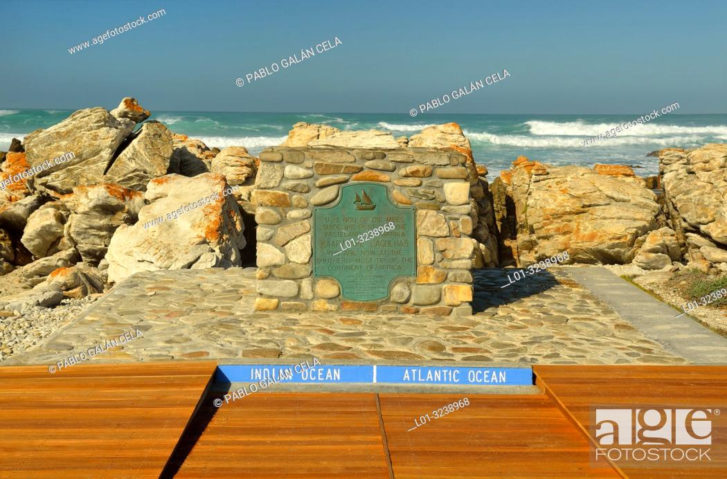 Stock Photo: Cape Agulhas, Western Cape, South Africa. Dividing point between the Atlantic and Indian oceans.