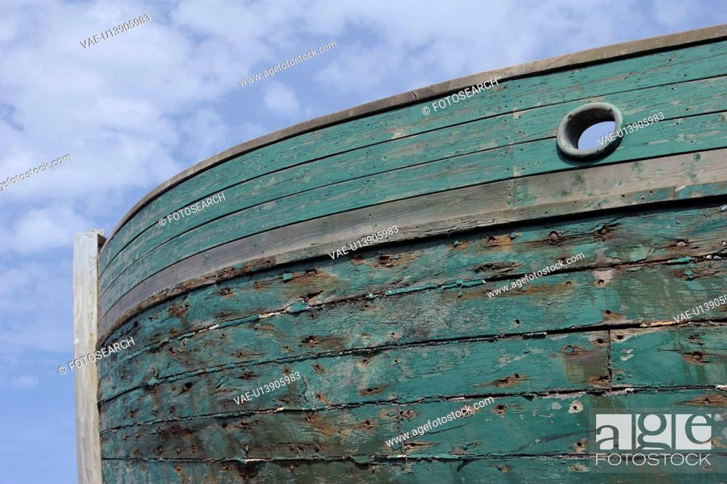 Stock Photo: brett, blue, boat, bow, day, Denmark.