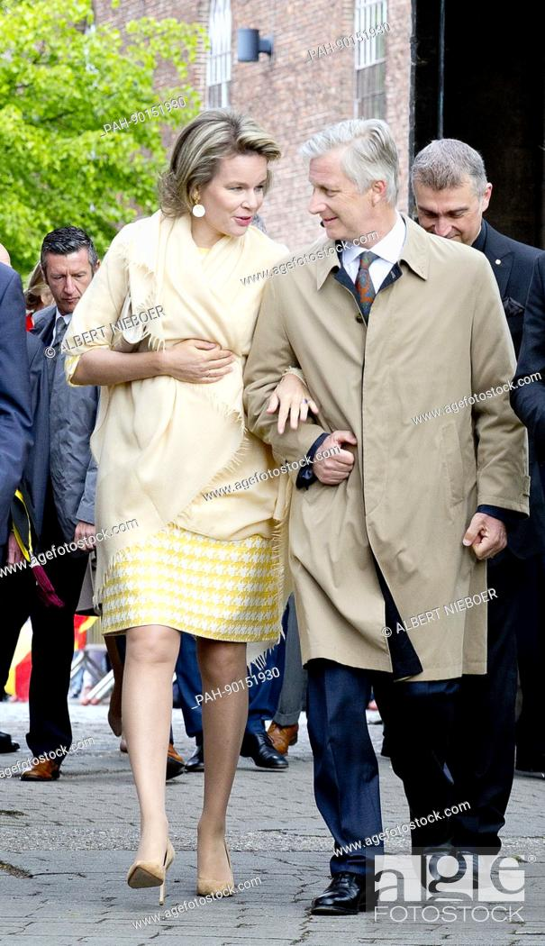 Stock Photo: King Filip and Queen Mathilde of Belgium at Kasteel Wissekerke in Kruibeke, on April 25, 2017, during their visit today to the Province of East Flanders Photo :.