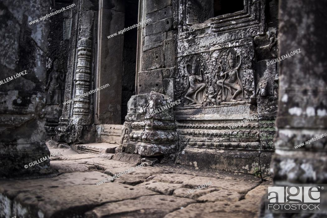 Stock Photo: Detail of Bayon at the Angkor Thom temple in Angkor Wat, Siem Reap, Cambodia.