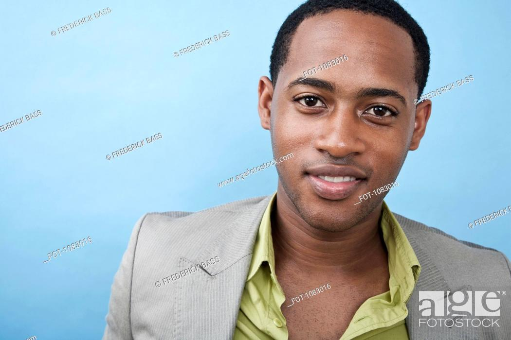 Stock Photo: A handsome young black man, portrait.