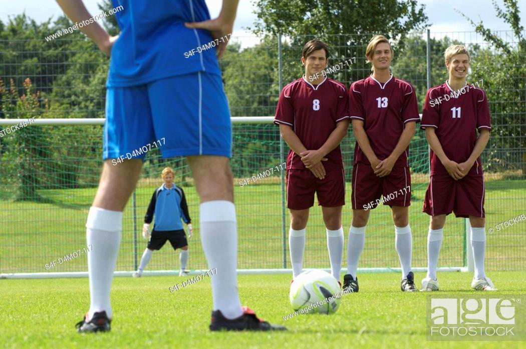 Stock Photo: Free kick situation during soccer game.