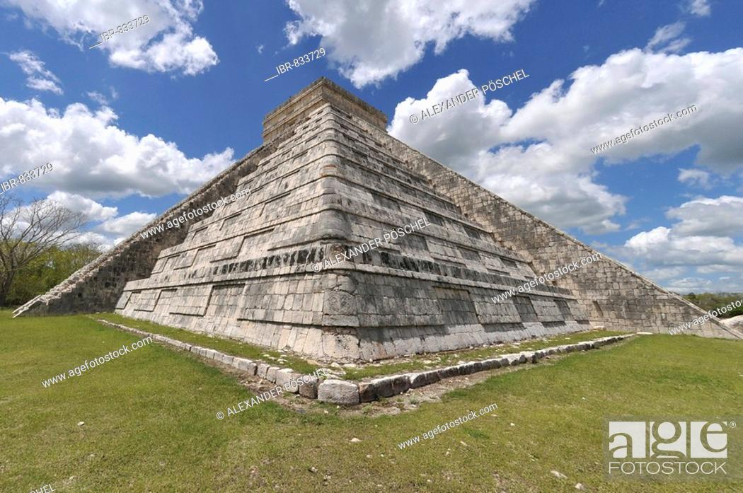 Stock Photo: Temple of Kukulkan Pyramid, Zona Nord, Chichen-itza, new wonder of the world, Mayan and Toltec archaeological excavation, Yucatan Peninsula, Mexico.