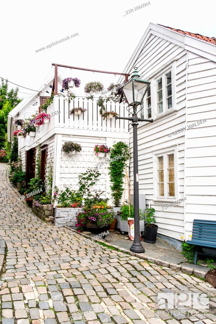 Stock Photo: Street corner with lamp post in the old town area of Stavanger in Norway.