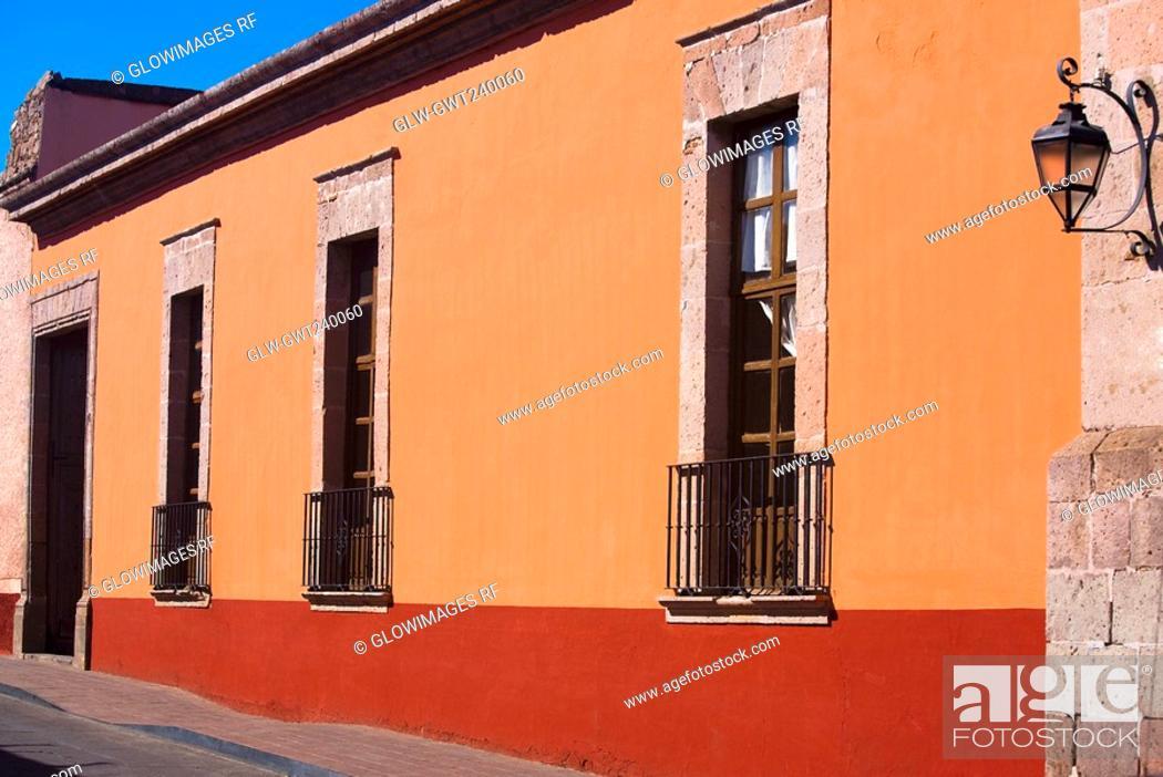 Stock Photo: Facade of a building, House of the revisory fiscal, Morelia, Michoacan State, Mexico.