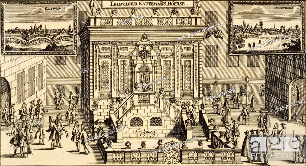 Stock Photo: The Stock Exchange in Leipzig, 1679, Germany 17th Century. Print.
