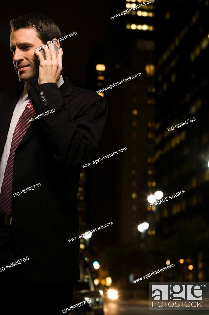 Stock Photo: Businessman making a telephone call.