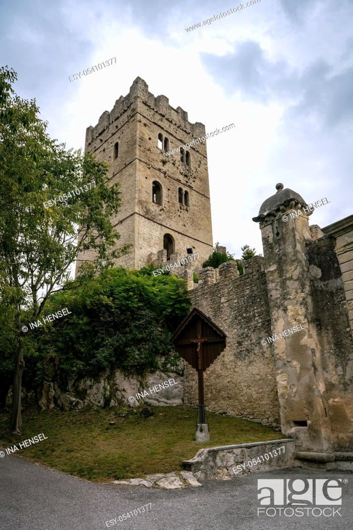 Stock Photo: Ruins of the tower and part of the wall of Castello di San Martino in Vittorio Veneto in Italy.