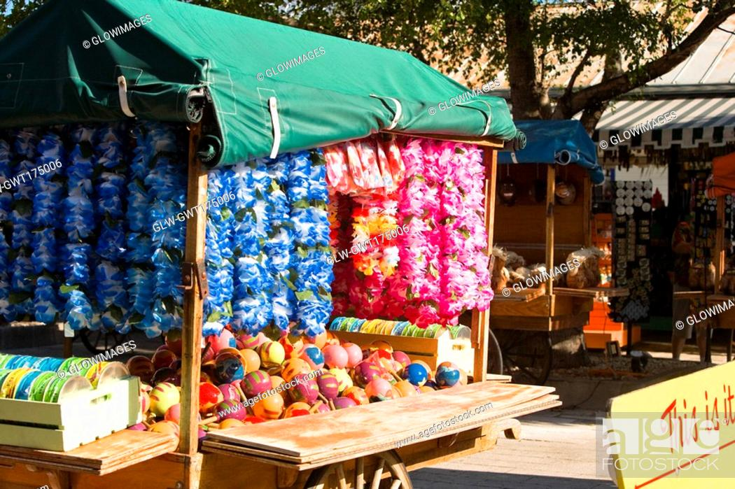 Stock Photo: Garlands hanging in a store, Sponge Market, Key West, Florida, USA.