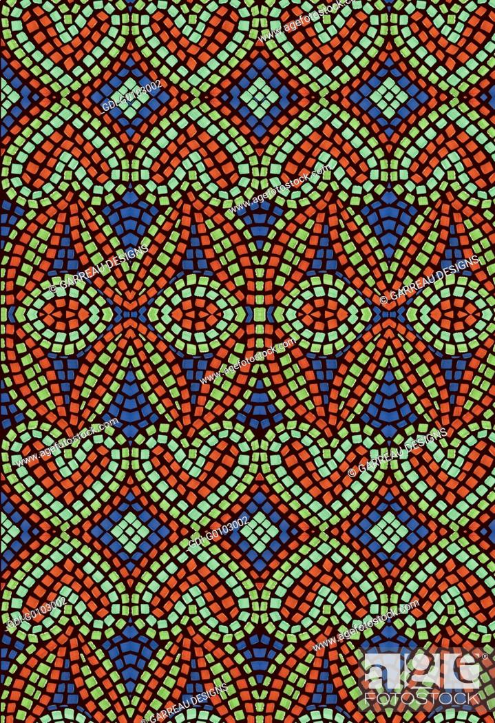 Photo de stock: Orange, green and blue mosaic heart pattern.