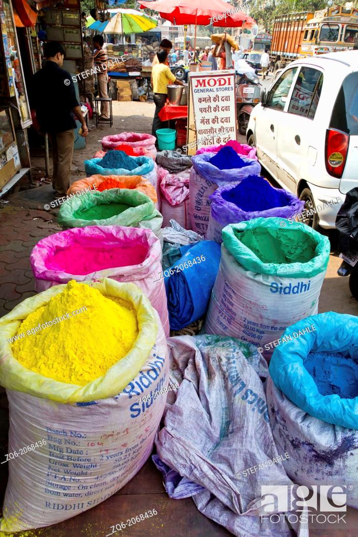 Stock Photo: Bags with colorful Powder in Mumbai, India.
