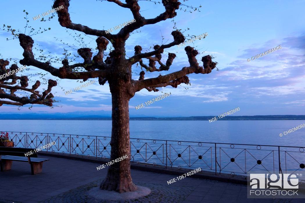 Stock Photo: Evening mood at Lake Constance, Meersburg, Baden-Wuerttemberg, Germany, Europe.
