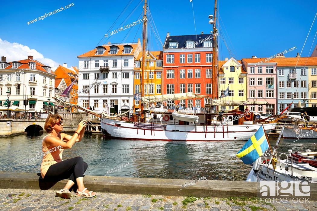 Stock Photo: The boat in Nyhavn Canal, Copenhagen, Denmark.