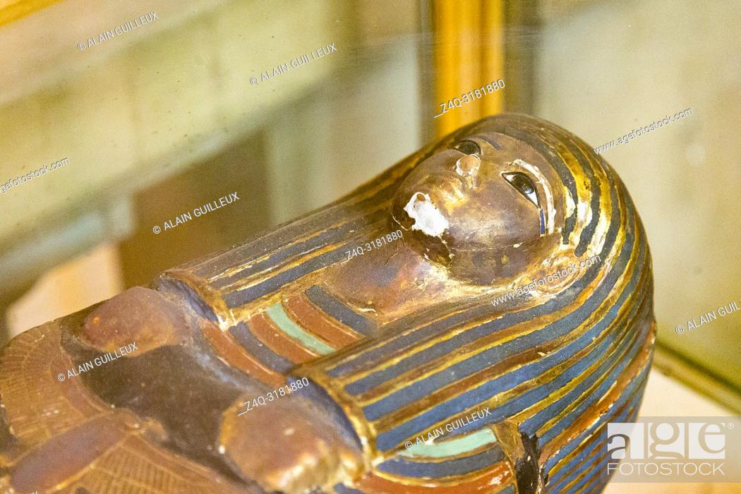 Stock Photo: Egypt, Cairo, Egyptian Museum, from the tomb of Yuya and Thuya in Luxor : Wooden model coffin of Yuya, in the form of an osirian figure.