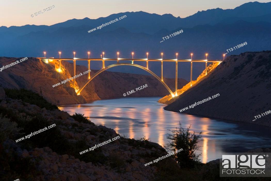 Stock Photo: Maslenica bridge near Zadar in Croatia.