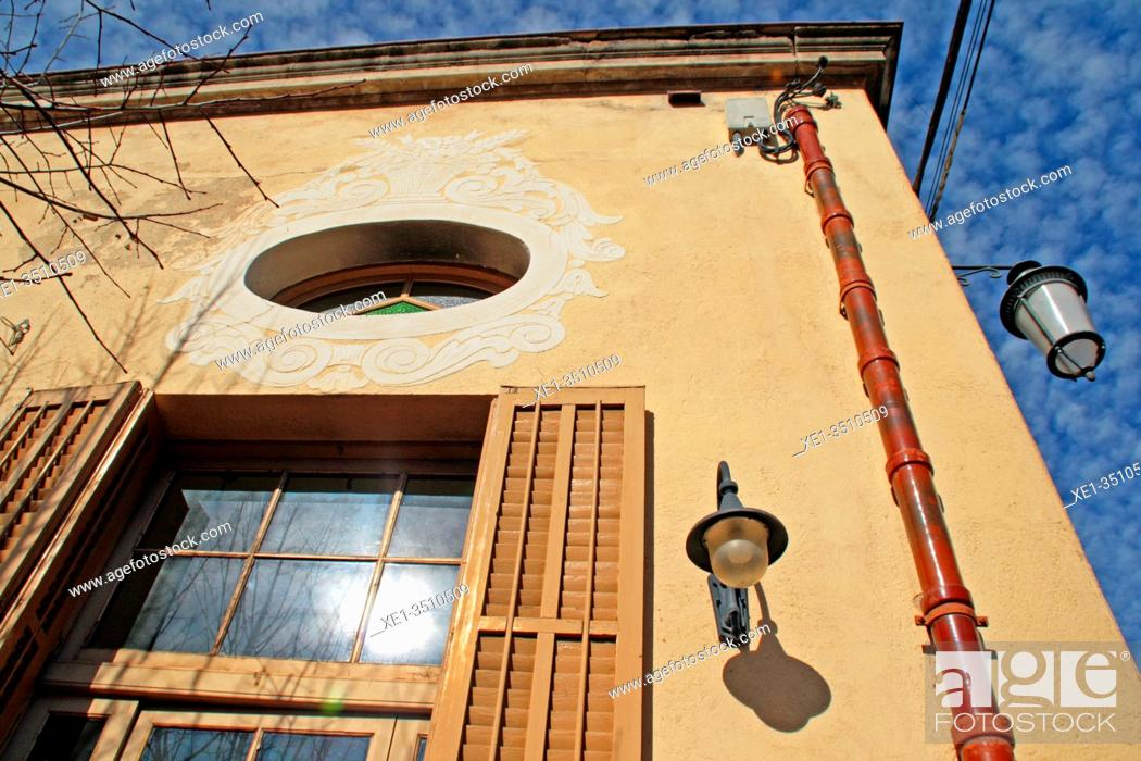 Photo de stock: windows and lampposts, Casal Català, 1926, architect Josep Goday Casals, Els Hostalets de Pierola, Catalonia, Spain.