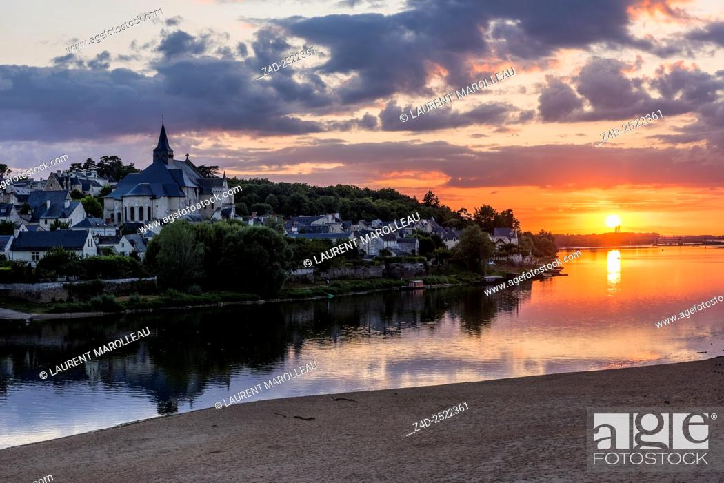 Stock Photo: Collegiate Church of Saint-Martin (12th and 13th centuries) at Candes-Saint-Martin Village (Labeled The Most Beautiful Villages of France) at Sunset.