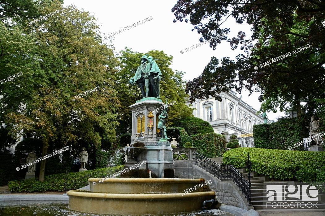 Stock Photo: Le Petit Sablon Square, Statue of Egmont and Horne, Brussels, Belgium, Europe.