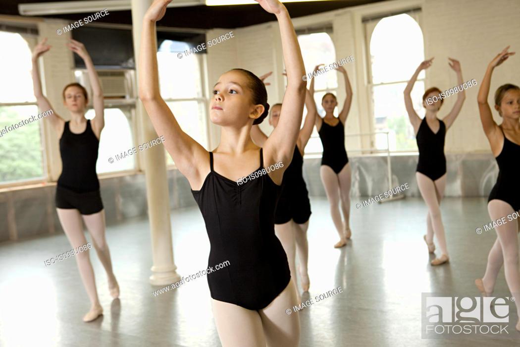 Stock Photo: Ballerinas dancing.