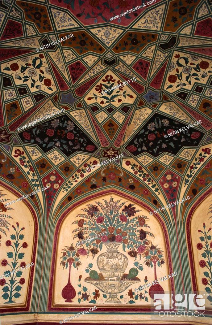 Fine Ceiling And Wall Painting In Tempera In Ganesh Pol Amber Fort