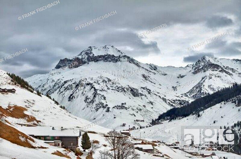 Stock Photo: Schollberg (Scholl Mountain) in St. Antönien, Graubünden, Switzerland.