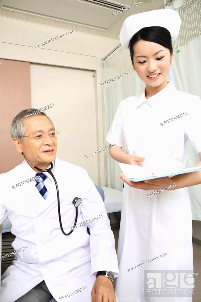 Stock Photo: Doctor and nurse.