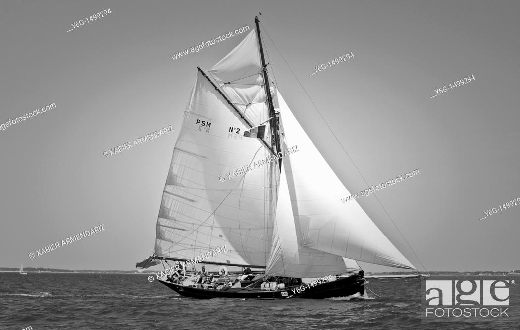Stock Photo: English old yatch cutter sailing  Bay of Morbihan, Brittant, France, Europe.