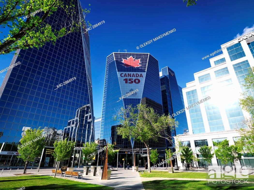 Stock Photo: Regina downtown city scenery of Victoria Park and McCallum Hill Centre Towers. Celebrating Canada's 150th anniversary. Regina, Saskatchewan, Canada 2017.