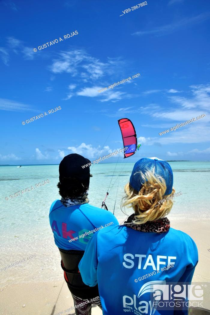Stock Photo: class kitesurf, staff woman and mean, los roques venezuela sebastopol.