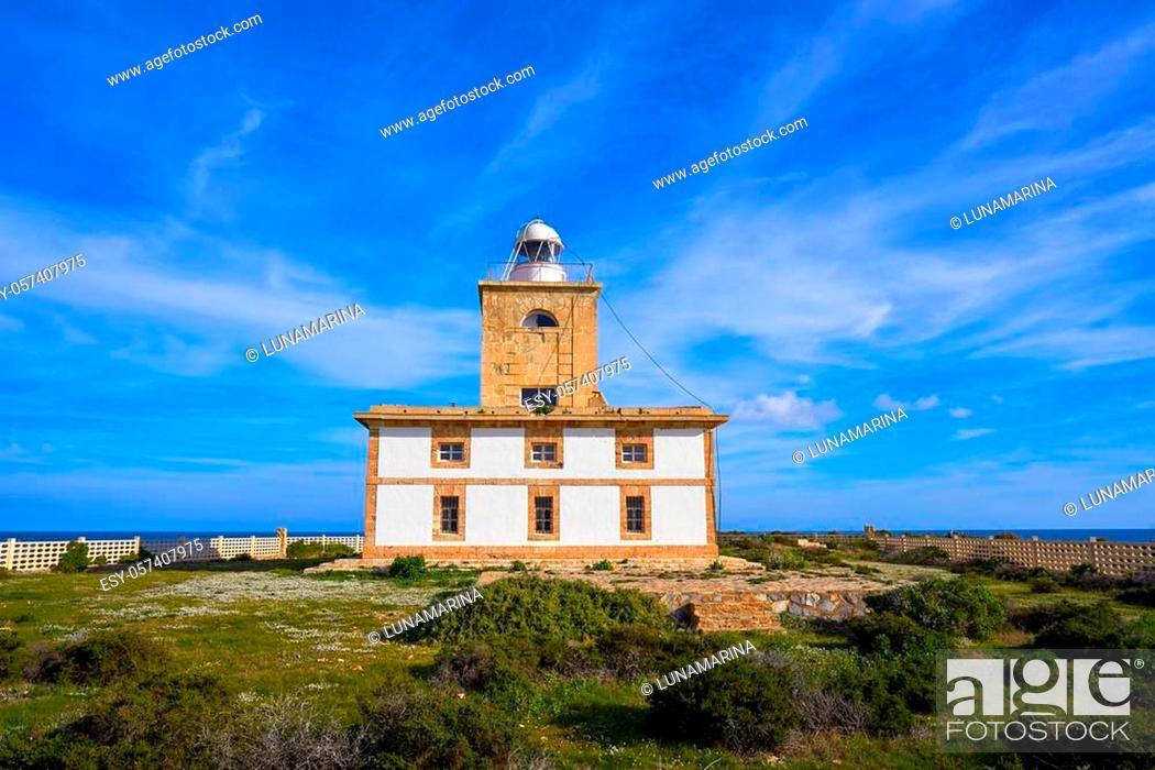 Stock Photo: Lighthouse Faro of Nova Tabarca island in Alicante Spain.
