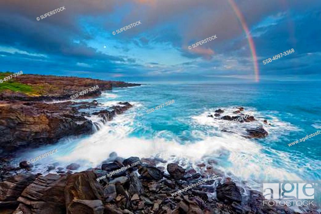 Stock Photo: Rainbow over the ocean, Oneloa Bay Beach, Maui, Hawaii, USA.