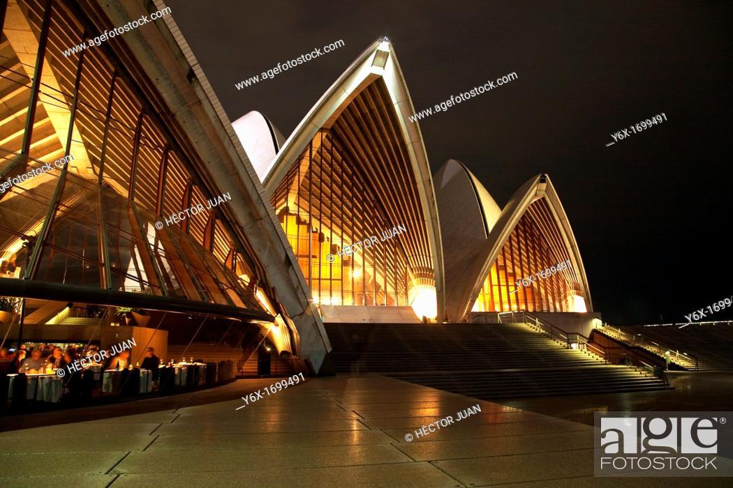 Stock Photo: Sydney Opera House front at night.