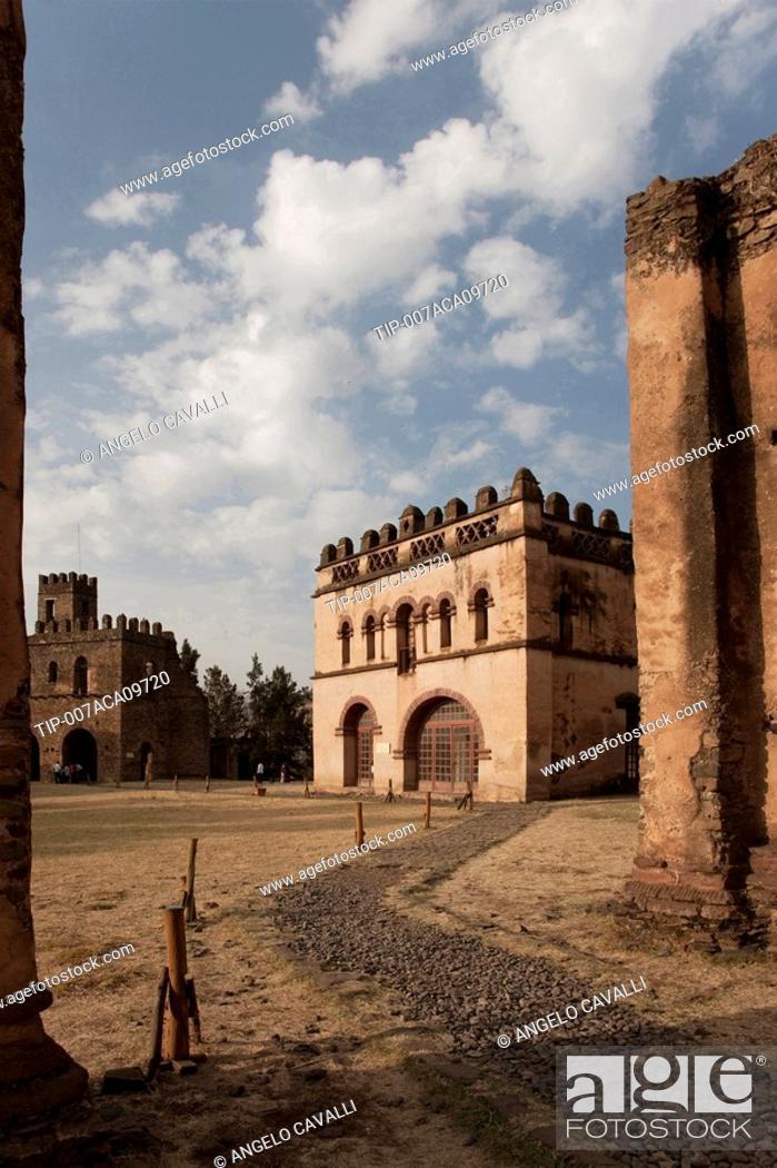 Stock Photo: Africa, Ethiopia, Gondar, Fasilada's palace.