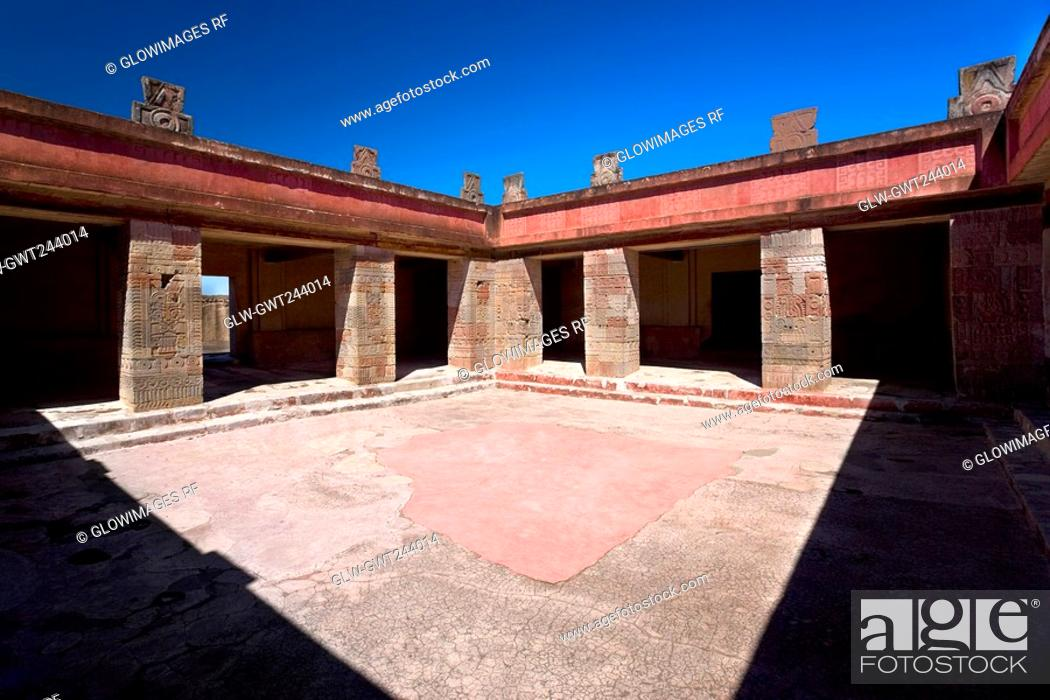 Stock Photo: Courtyard of a palace, Quetzalpapalotl Palace, Teotihuacan, Mexico.