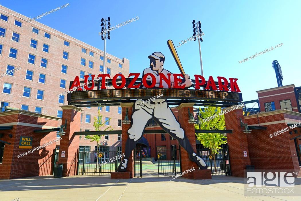 Stock Photo: Auto Zone Baseball Park Memphis Tennessee TN.