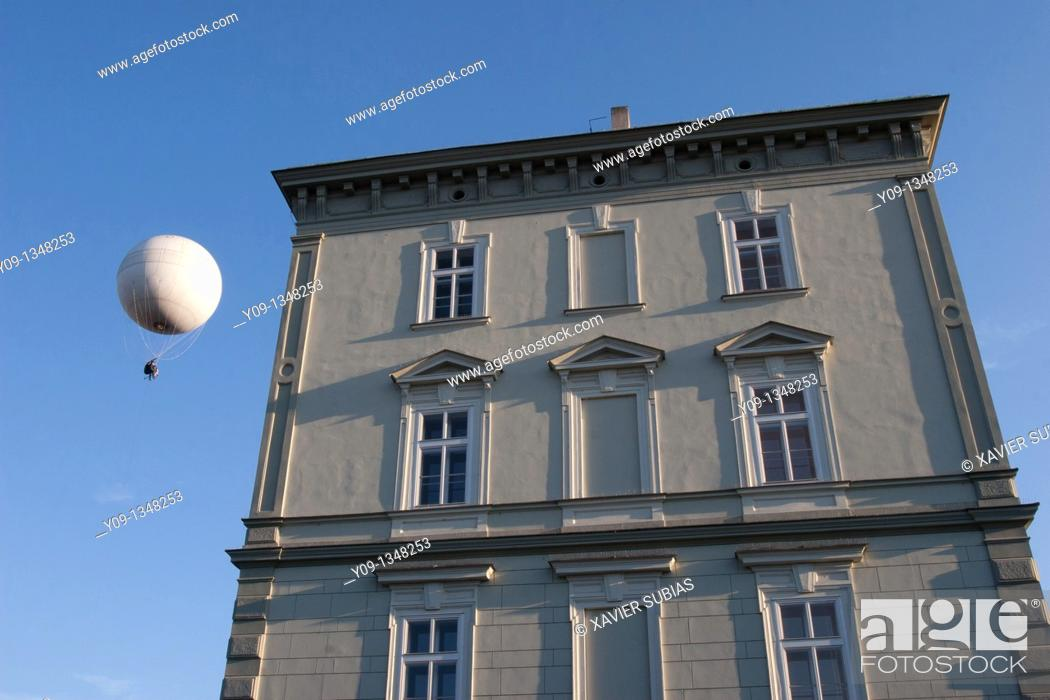 Stock Photo: Balloon and House, Prague, Czech Republic.