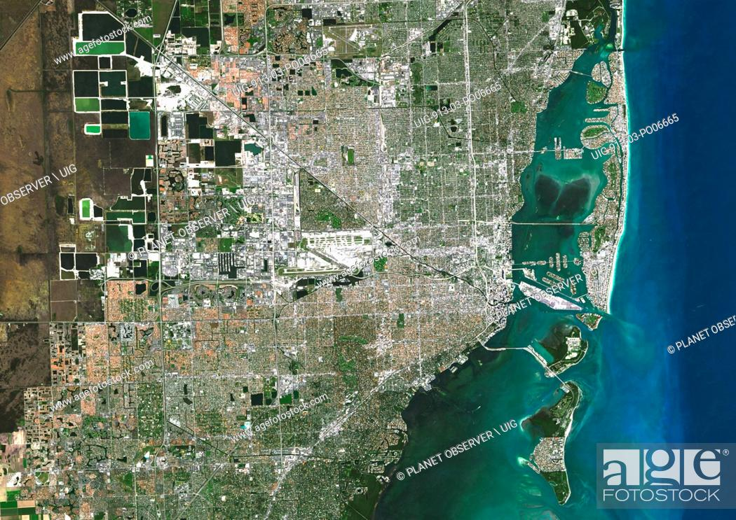Stock Photo: Colour satellite image of Miami, Florida, USA. Image taken on November 2, 2014 with Landsat 8 data.