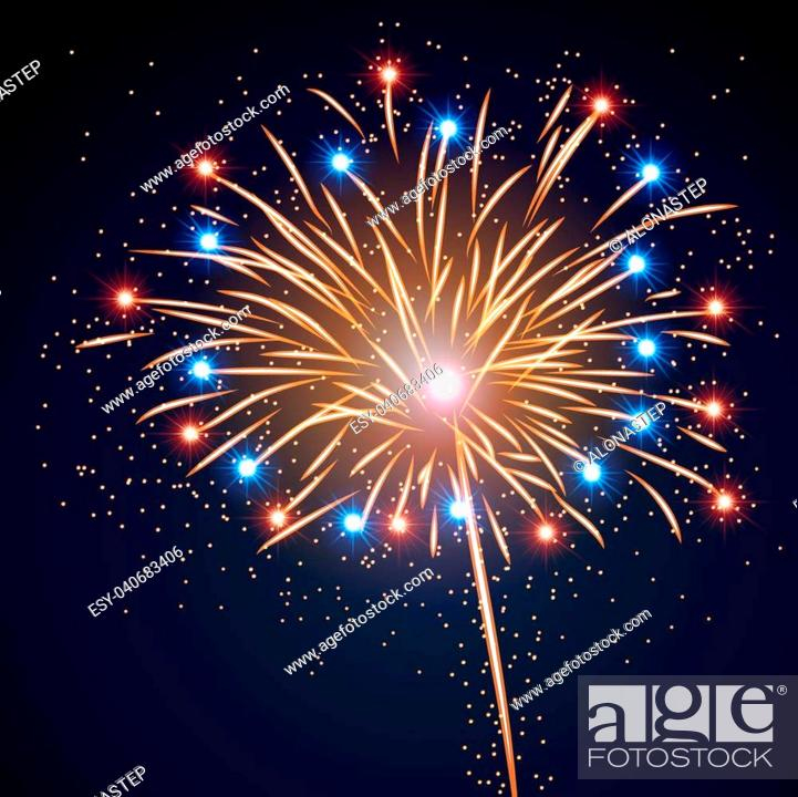 Stock Vector: Firework bursting sparkle background. Colorful night fire, beautiful explosion for celebration, holiday, Christmas, New Year, birthday.