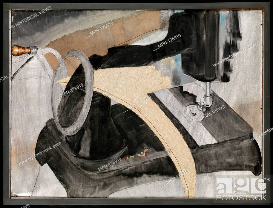 Stock Photo: Hand Sewing Machine. Artist: Arthur Dove (American, Canandaigua, New York 1880-1946 Huntington, New York); Date: 1927; Medium: Oil, cut and pasted linen, resin.
