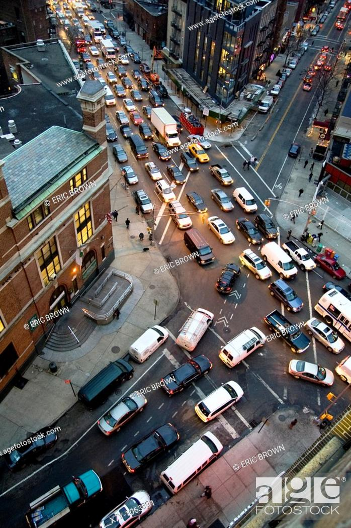 Stock Photo: View of traffic at the intersection of Varick and Clarkson, from the 9th floor of a building in West Village, Manhattan, NYC.