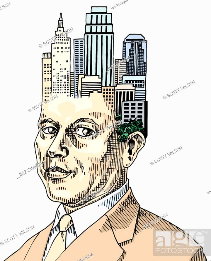 Stock Photo: Businessman with cluster of buildings on his head.