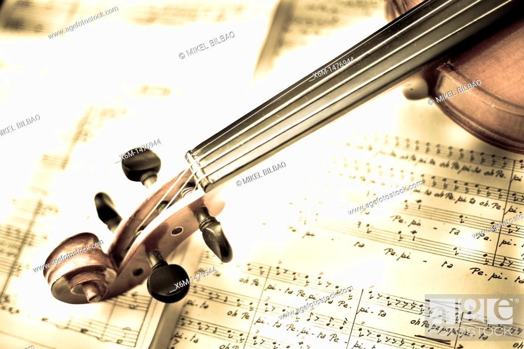 Stock Photo: violin and score.