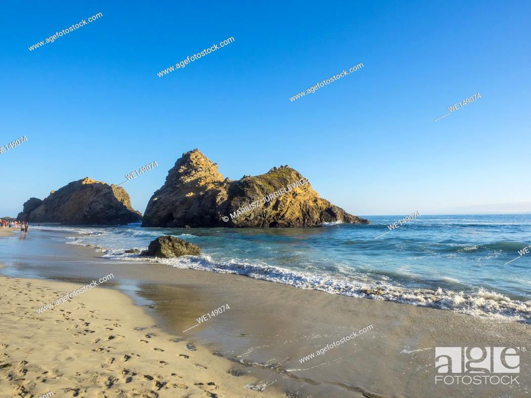 Stock Photo: Pfeiffer Beach is located in the heart of Big Sur and is one of the favorite beaches in all of Big Sur.