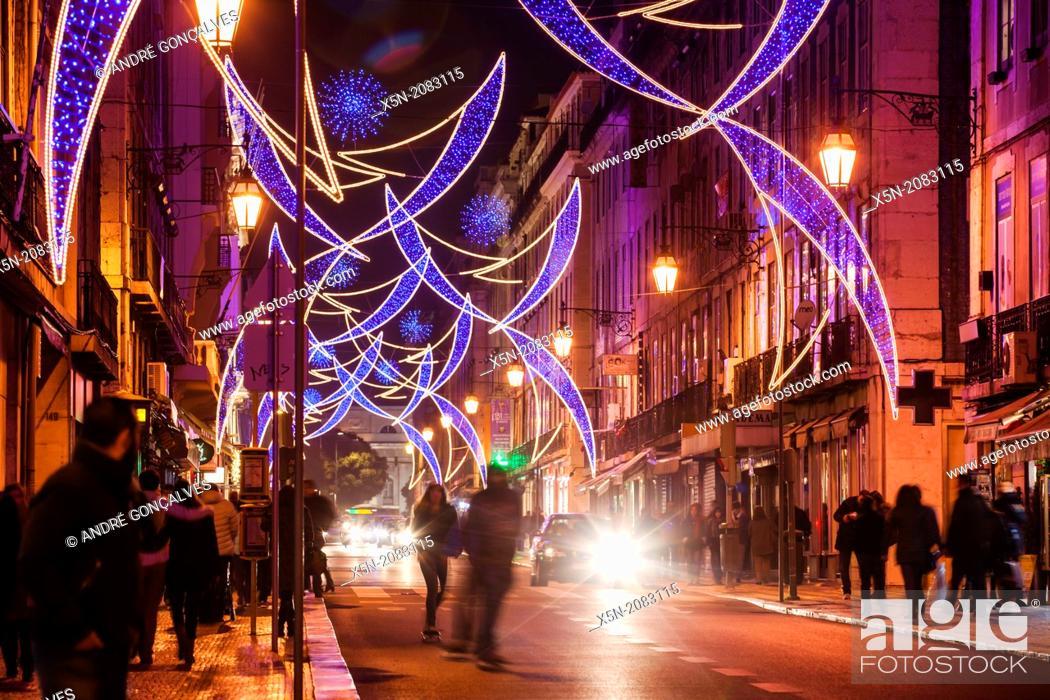Stock Photo: Christmas Lights in the Rua Aurea, Lisbon, Portugal, Europe.
