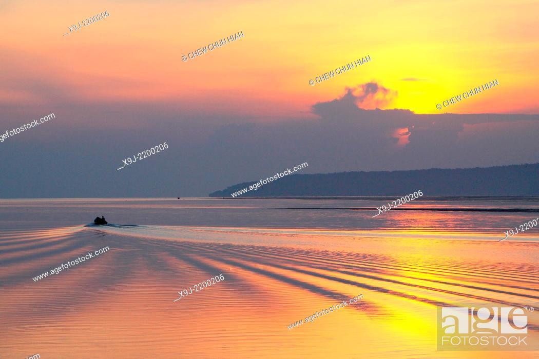 Stock Photo: Sunrise at Buntal Fishing Village and Small fishing boats, kuching, Sarawak, malaysia.