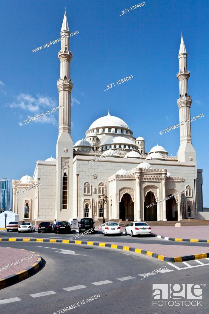 Stock Photo: The Al Noor Mosque exterior in Sharjah, UAE.