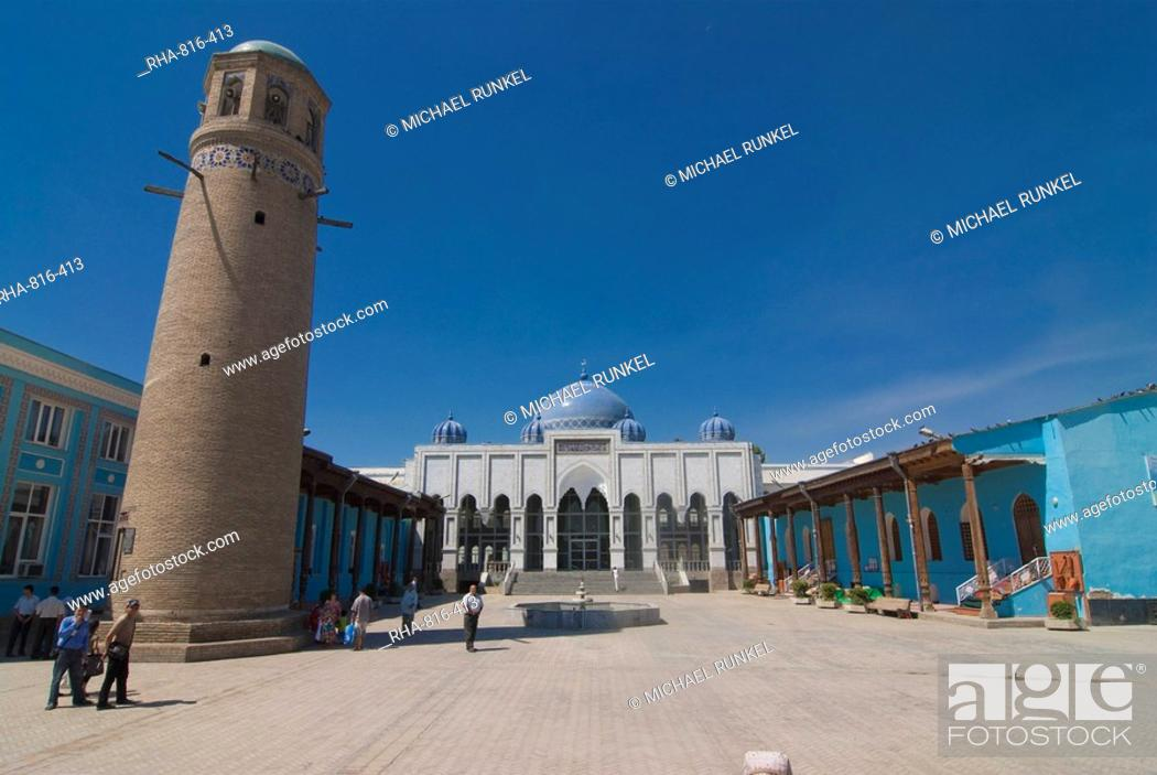 Stock Photo: Mosque with minaret, Khojand, Tajikistan, Central Asia.